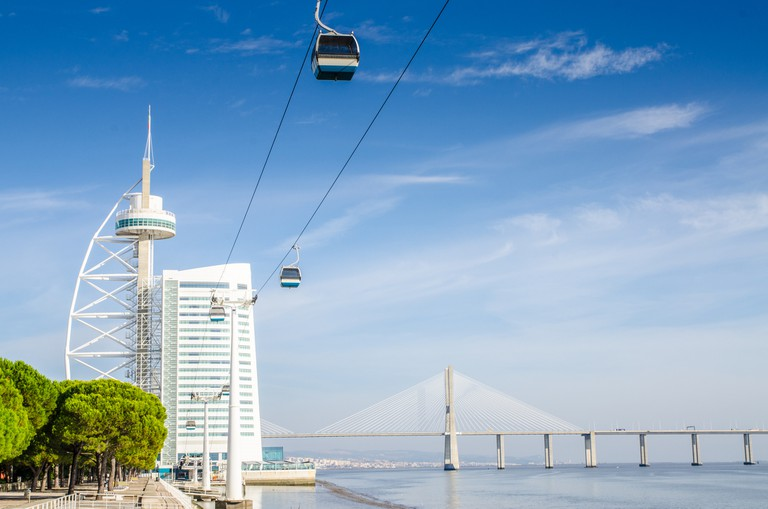 The Parque das Nações cable car stretches across the Tagus River
