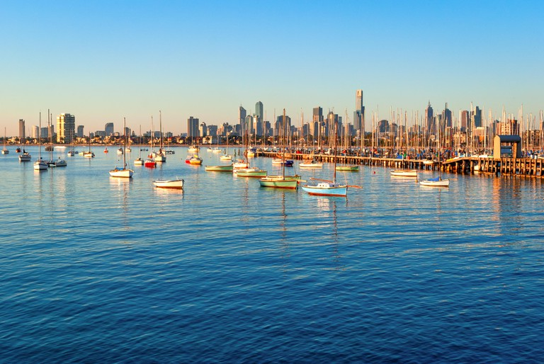 Melbourne skyline from St Kilda at sunset (Victoria, Australia)