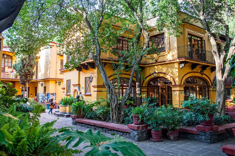 Casa de Cultura Jesus Reyes Heroles,Typical, architecture, Avenida Francisco Sosa, Coyoacan, Mexico City, Mexico