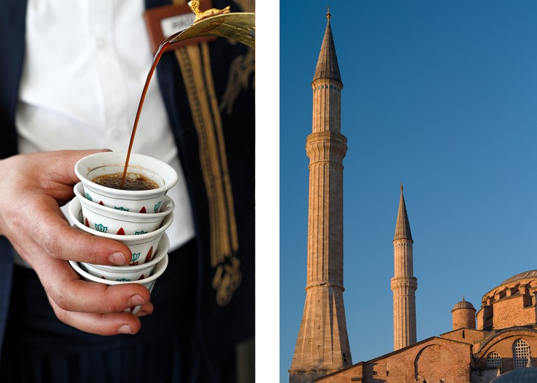 Left: Coffee poured in the traditional Turkish fashion Right: Hagia Sophia ( Aya Sofia ) mosque