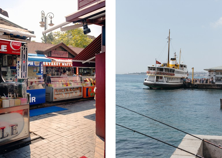 Left: Food vendors in Ortakoy. Right: Passengers disembarking one of Istanbul Ferry's at Besiktas terminal.