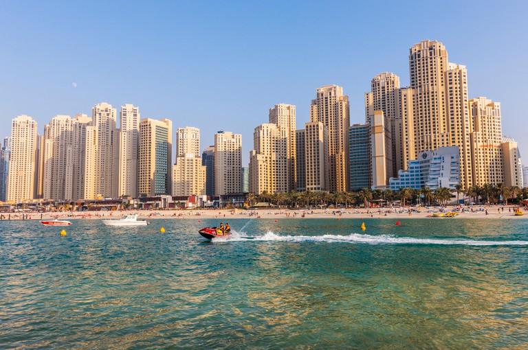 People jet ski off Jumeirah beach