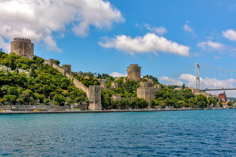 Ancient walls on the Bosphorus at the time of the Crusades in Istanbul used by the Ottoman Empire to defend the city from the attacks