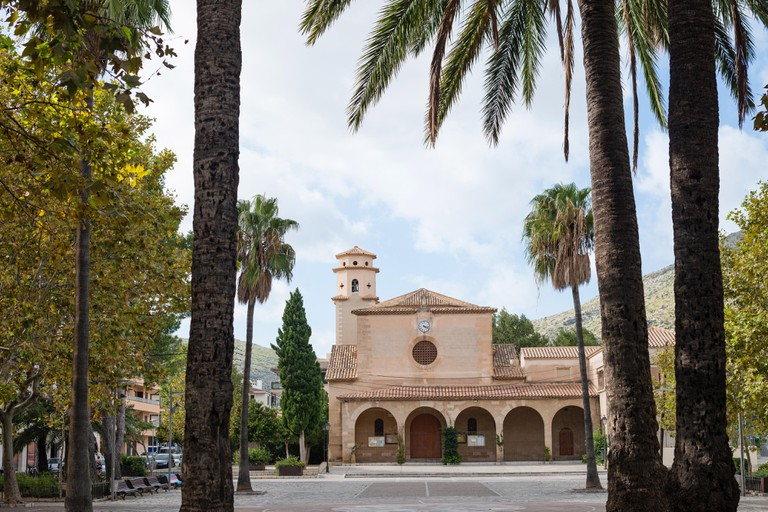 Square in the center of Port de Pollenca, Mallorca island, Spain
