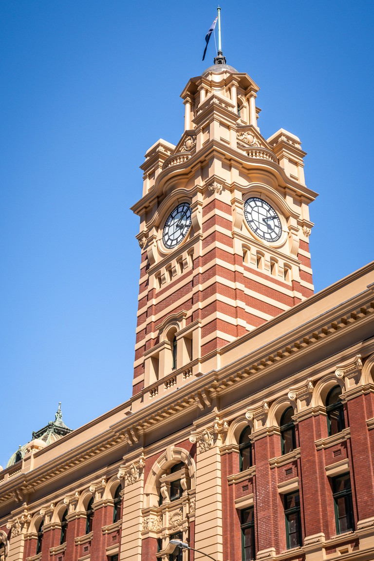Clock tower of the Flinders street station in Melbourne, Australia.