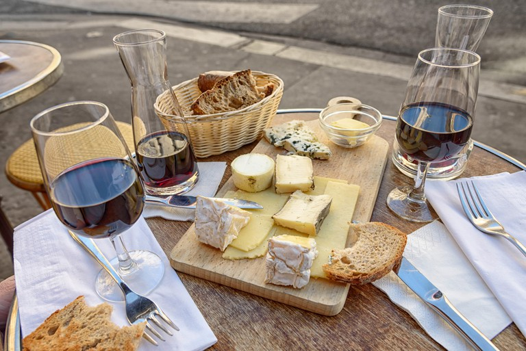 Cheese and wine at a cafe in Paris