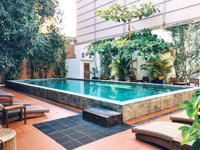 Our swimming pool, open to public when guests spend 5 USD on food and drinks