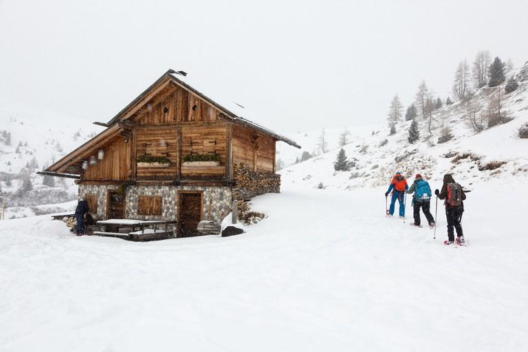 Snowshoe to Rifugio Fedare at Jof de Melei