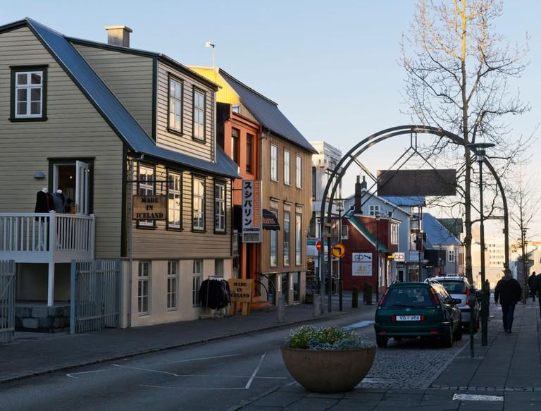 Laugavegur, the main shopping street in Reykjavik.