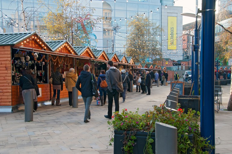 Christmas Market stalls, Exchange Square, Manchester