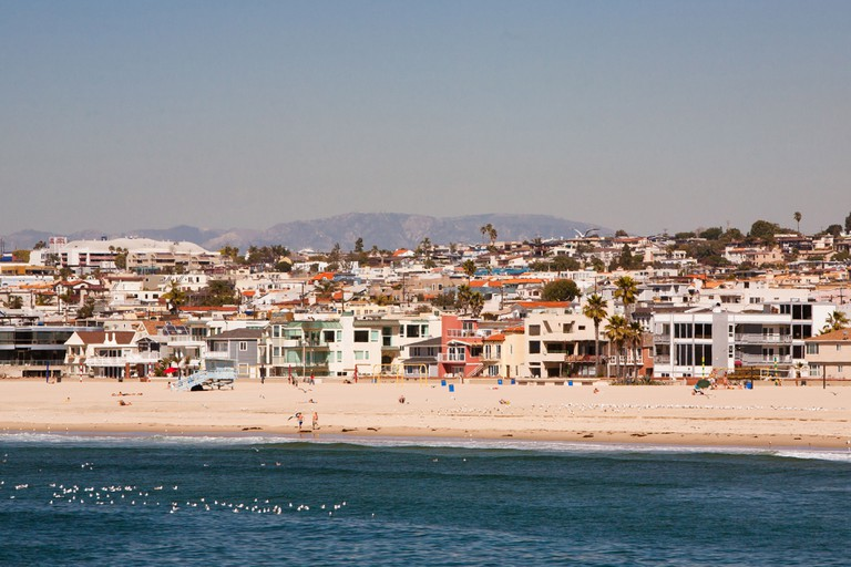 Hermosa Beach on a warm sunny day in Los Angeles, California, USA