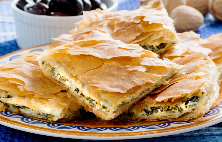 Spanakopita, Greek spinach pie with feta cheese and filo party