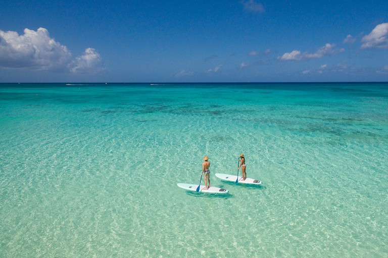 Paddle boarding in the Cayman Islands