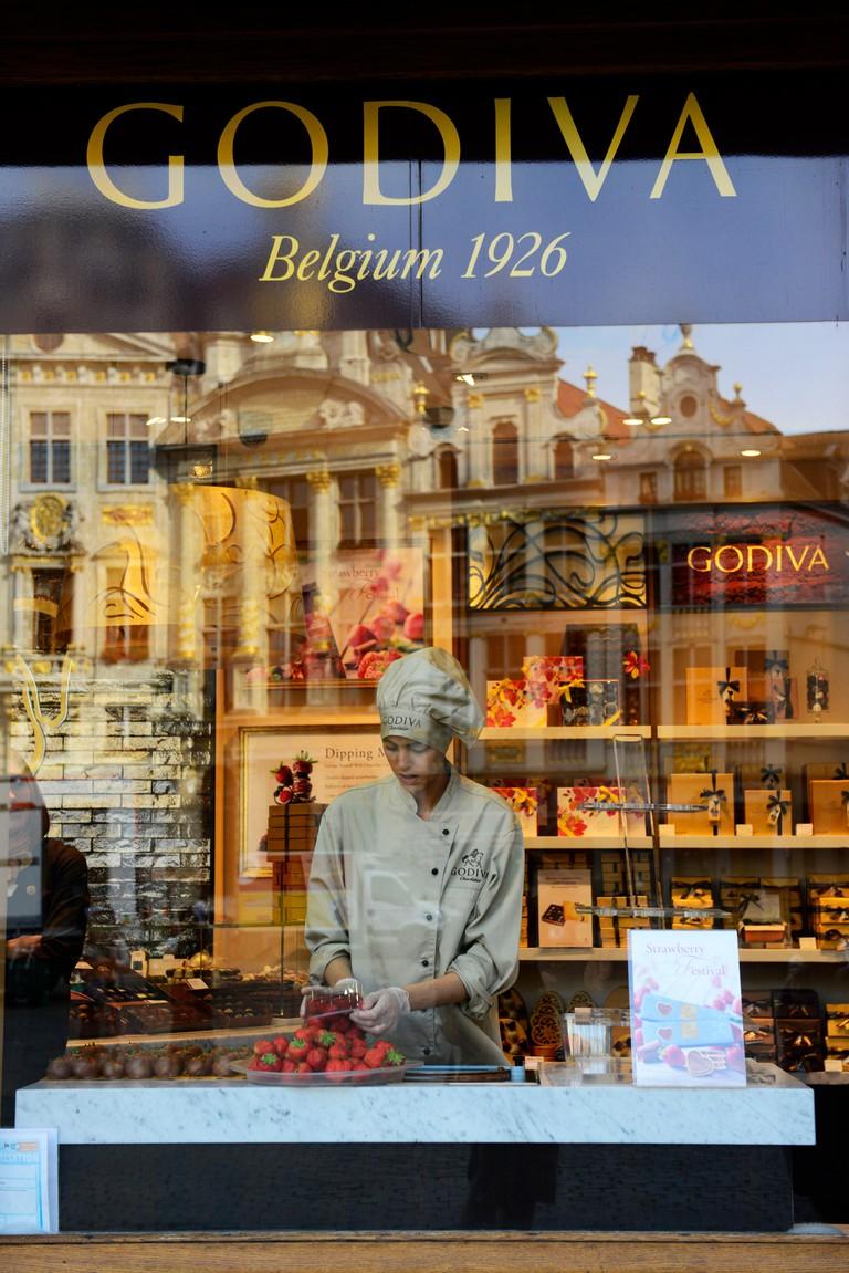 Godiva chocolates and beautiful old buildings in Brussels, Belgium.