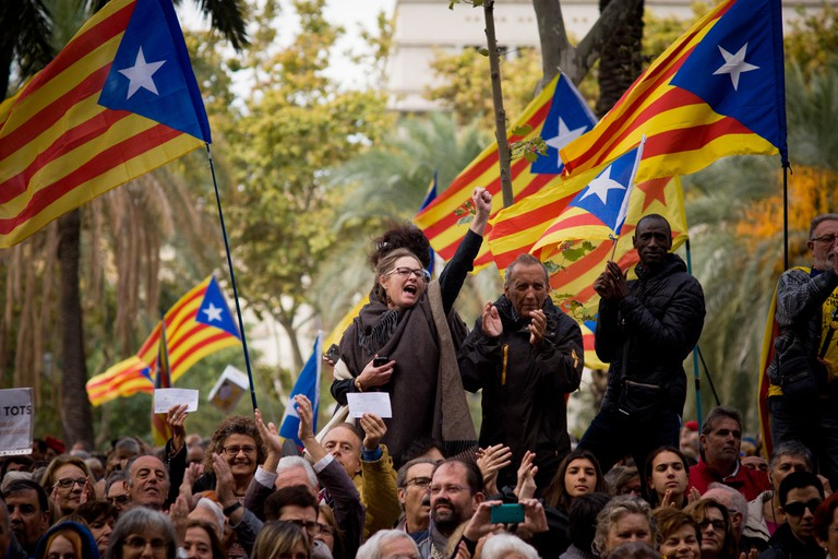 Pro-independence supporters in Barcelona, Catalonia, Spain.