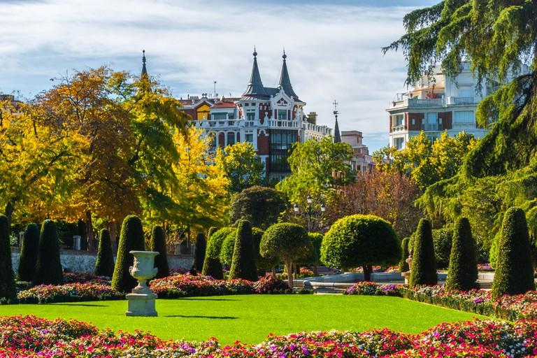 Gardens in the city of Madrid's Retiro park.