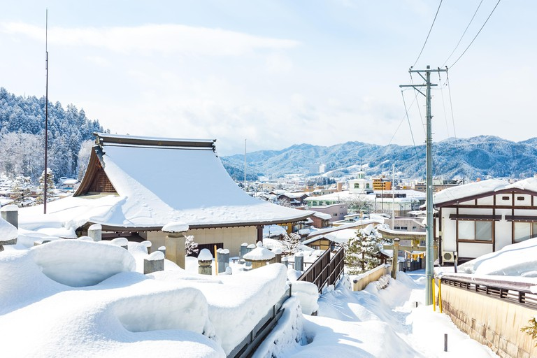 Winter in Takayama ancient city in Japan.
