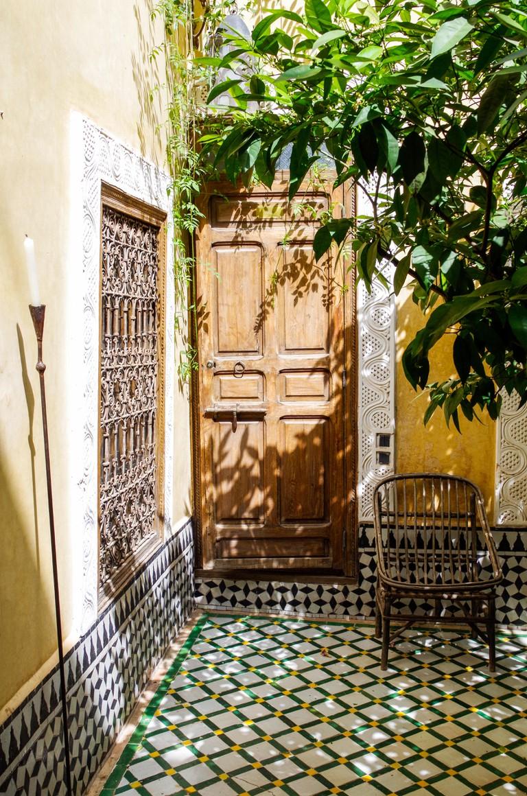 Moroccan riad courtyard, Marrakech, Morocco.