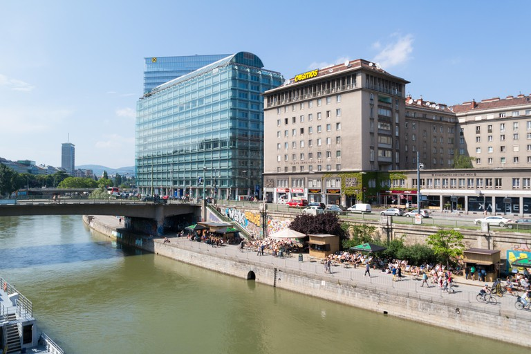 Highrise and waterfront promenade of Little Danube canal