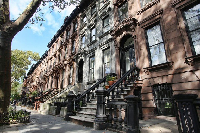 Row of brownstones in New York City
