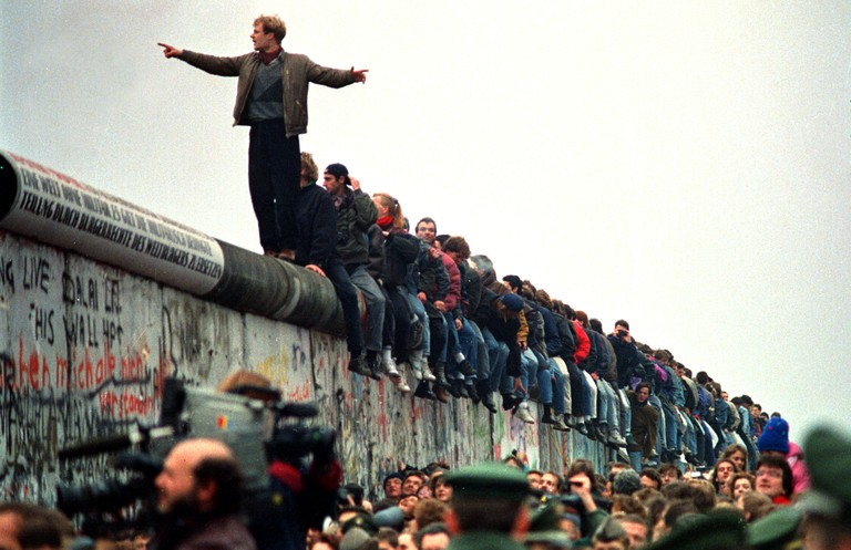 People Stand On The Berlin Wall (Photo by John Tlumacki/The Boston Globe via Getty Images)