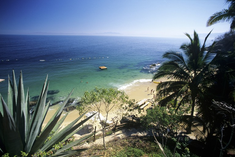 Elevated view of Playa Las Caletas on the southshore of Banderas Bay near Puerto Vallarta, Jalisco, Mexico