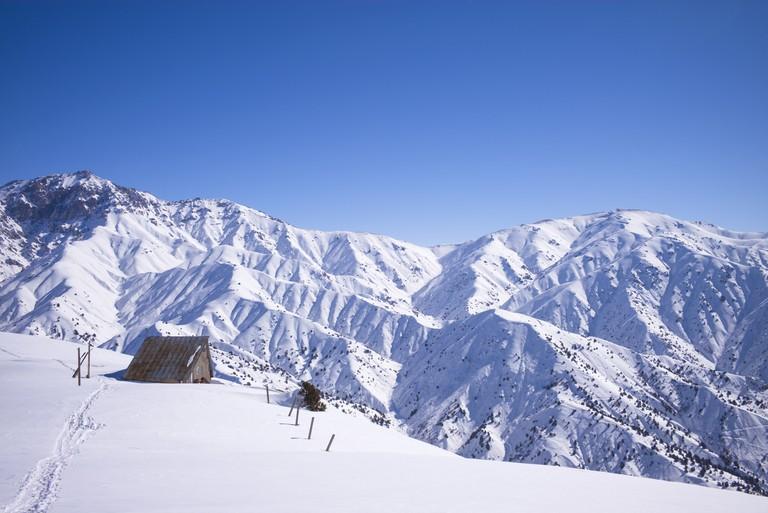 A hikers path leads to a rangers refuge in Beldersay ski resort