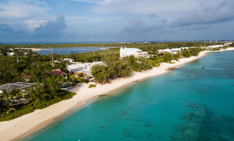 Aerial drone view of Seven Mile Beach on the island of Grand Cayman in the Caribbean