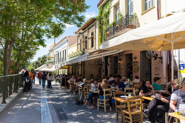 Adrianou Street, restaurants, tavernas, Athens, Greece