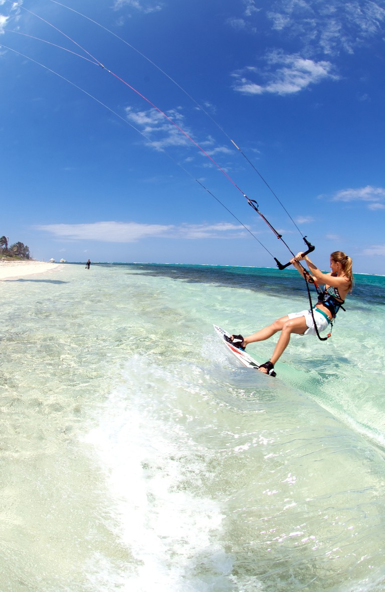 Kite surfing in the Cayman Islands
