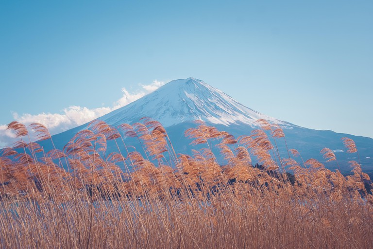 Beautiful landscape view of Fuji mountain or Mt.Fuji covered with white snow in winter seasonal at Kawaguchiko Lake, Japan.