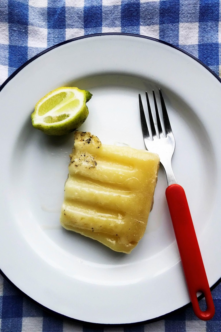 Saganaki, grilled Graviera cheese