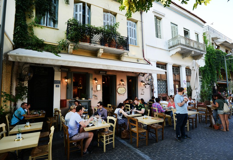 Restaurants bars and cafes on the narrow streets of Athens's old city.