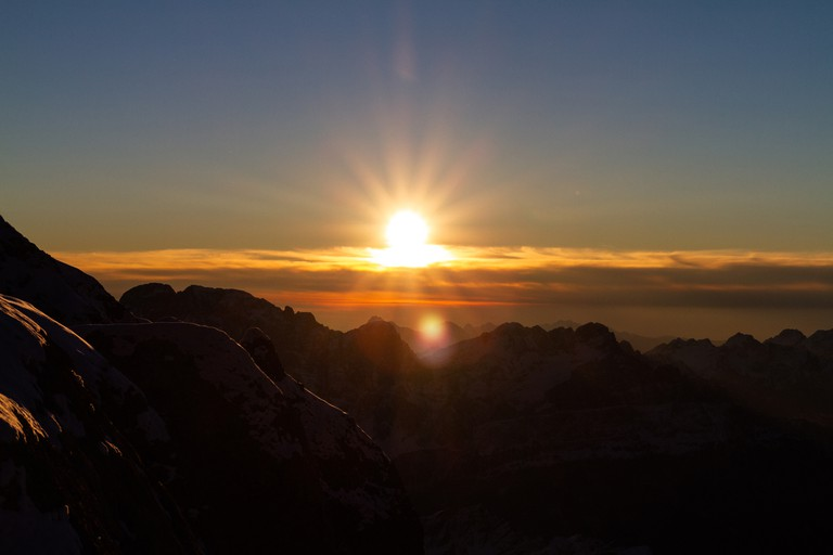 The sunrise from the summit of Marmolada