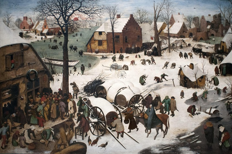 Census at Bethlehem, 1566 Pieter Bruegel the Elder, Musees royaux des Beaux-Arts de Belgique, Royal Museums of Fine Arts, Rue du Musee, Brussels, Belgium, Europe January 2018 | usage worldwide