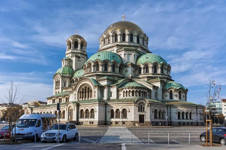 SOFIA, BULGARIA - NOVEMBER 7, 2017: Golden Domes of Cathedral Saint Alexander Nevski in Sofia, Bulgaria