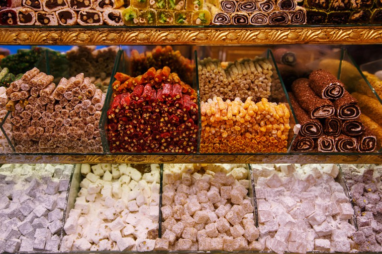 Sweets on a stall in a Turkish market, Istanbul
