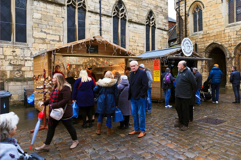 Market Stalls on Castle Hill at Lincoln Christmas Market