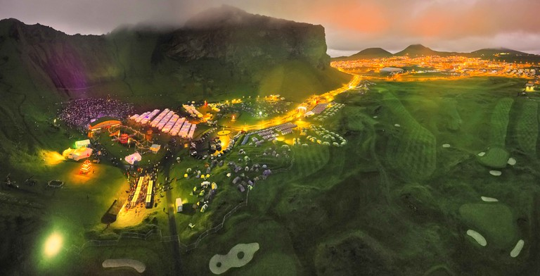Thjodhatid Festival, Heimaey, Westman Islands, Iceland. National annual festival with bond fires, fireworks, music and stage performances.