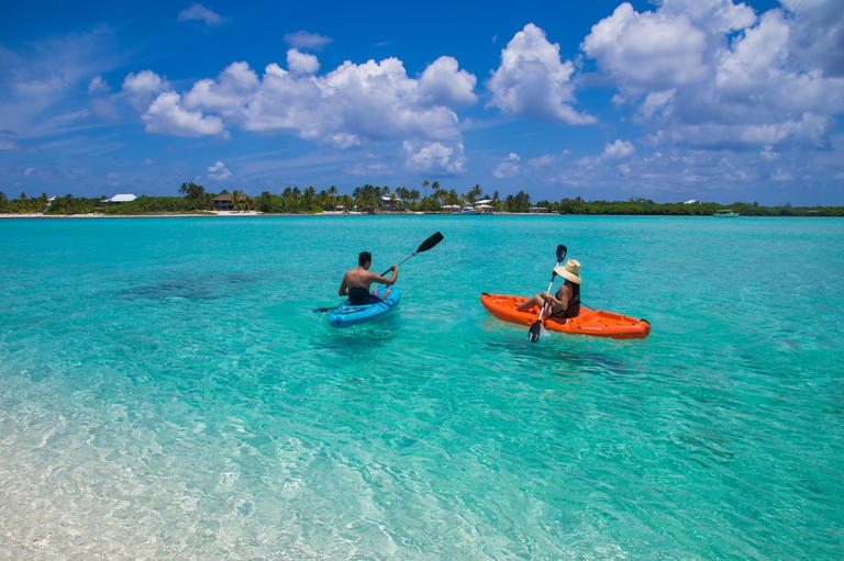 Couple Kayaking in Cayman Islands