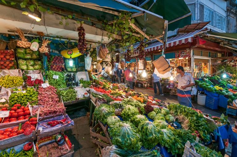 Fruit and vegetable stalls at Kadikoy market, Istanbul