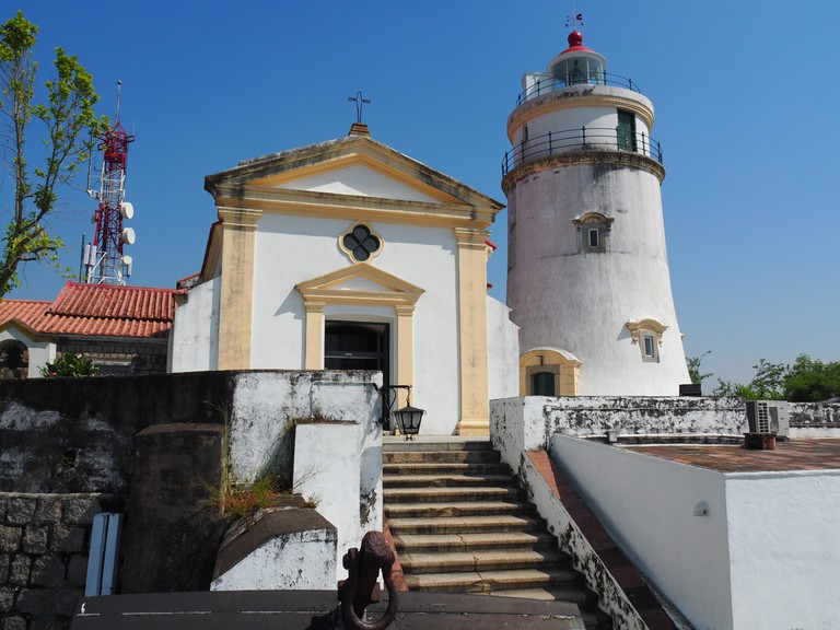 A front view of the lighthouse and the chapel located at the Guia Fortress in Macau.