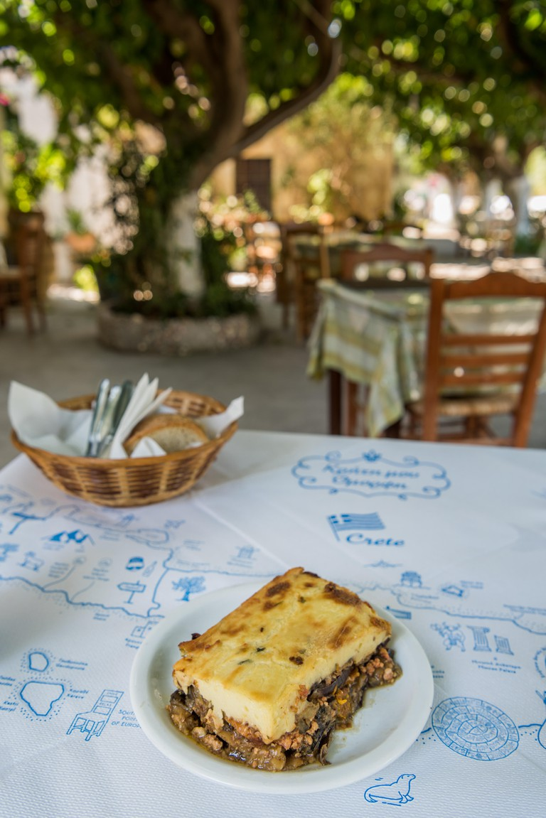 Moussaka on table of traditional restaurant on Crete