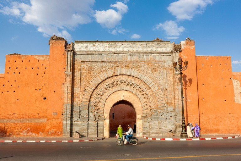 The Bab Agnaou city gate, Marrakesh, Morocco, North Africa.