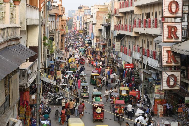 Aerial view of the daily life in Paharganj neighbourhood. Paharganj is known as Shahganj or King's ganj.