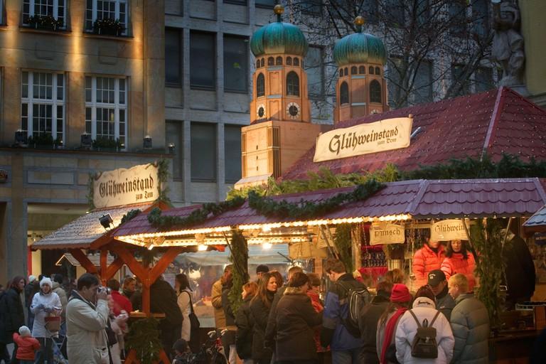 Gluhwein stall at the Munich Christmas Market.