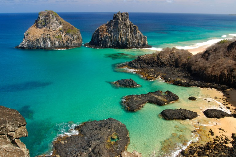 Porco's bay and Dois Irmaos islands Fernando de Noronha national marine sanctuary Pernambuco Brazil South Atlantic