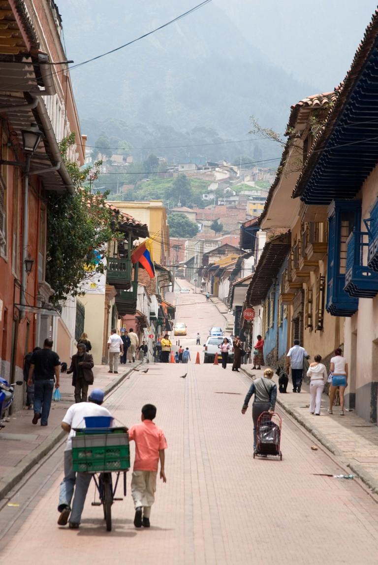 Street in La Candelaria, Bogota, Colombia