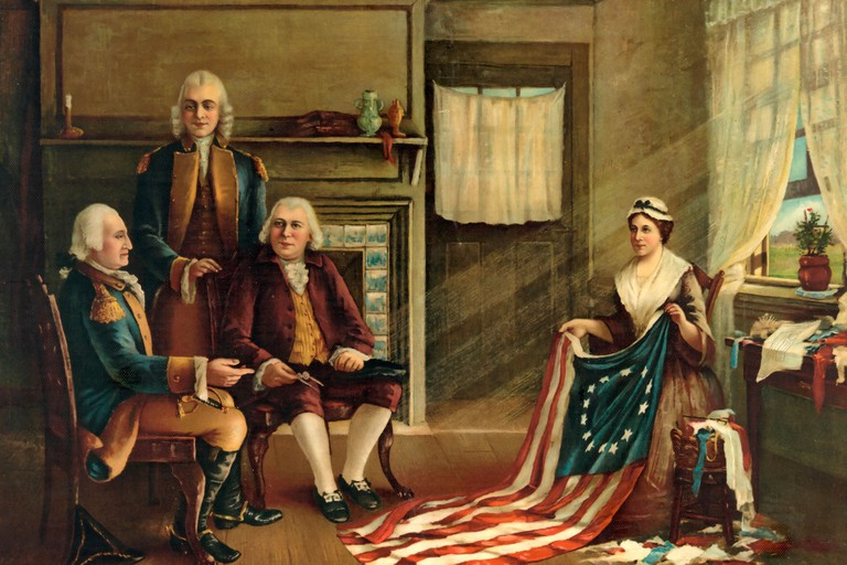 Birth of our nations flag - Betsy Ross making the First American Flag