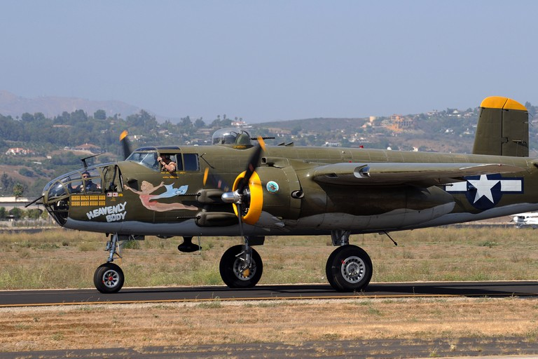 A Twin-engined bomber Mitchell B-25 Heavenly Body, serial number 430748, taxi's to take-off position at the Camarillo air show. Image shot 08/2008. Exact date unknown.